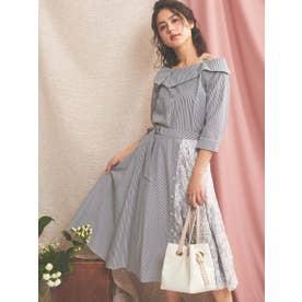 レースMIXアシメスカート (紺)
