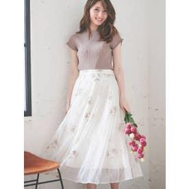 配色刺繍チュールスカート (オフホワイト)