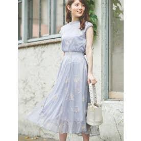 配色刺繍チュールスカート (ブルー)