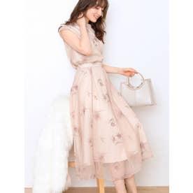 配色刺繍チュールスカート (ベージュ)