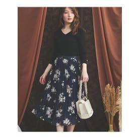 プリーツラインフラワースカート (紺)
