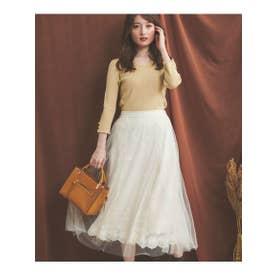 刺繍レーススカート (オフホワイト)