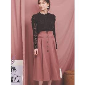 ハイウエストボタンスカート (ピンク)