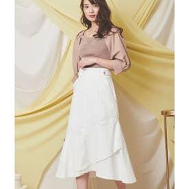 裾フレアデニムスカート (オフホワイト)