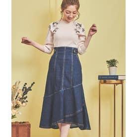 裾フレアデニムスカート (インディゴ)