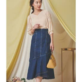 裾フレアデニムスカート (インディゴブルー)