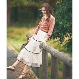 配色レーススカート (オフホワイト)