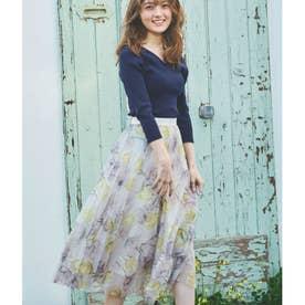 ニット×花柄チュールスカートセット (ネイビー)