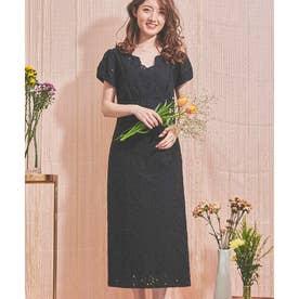 コットン刺繍レースワンピ (ブラック)