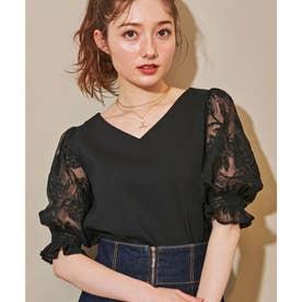 シアー刺繍カットソー (ブラック)