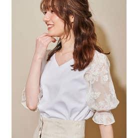 シアー刺繍カットソー (オフホワイト)