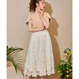 チュールフラワー刺繍スカート (オフホワイト)