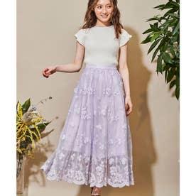 チュールフラワー刺繍スカート (ラベンダー)