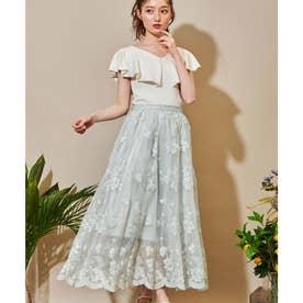 チュールフラワー刺繍スカート (ライトグリーン)