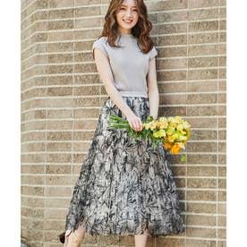 線描き刺繍スカート (ブラック)