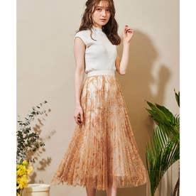 線描き刺繍スカート (オレンジ)