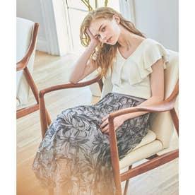 線描き刺繍スカート (ブルー)