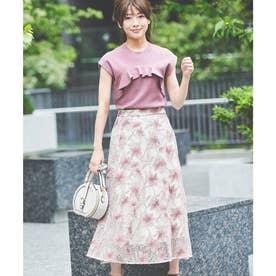 メッシュ刺繍フレアスカート (オフホワイト)