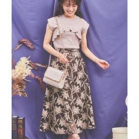 メッシュ刺繍フレアスカート (ブラウン)