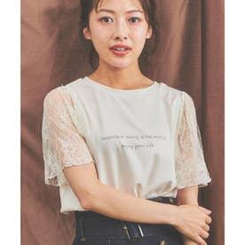 レース袖ロゴTシャツ (オフホワイト)
