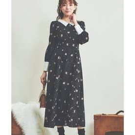 ミニフラワー襟付きワンピース (ブラック)