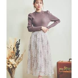 線描き刺繍レーススカート (ピンク)
