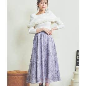 線描き刺繍レーススカート (サックスブルー)