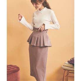 ビットベルト付ペプラムスカート (ピンク)