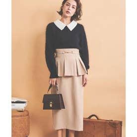 ビットベルト付ペプラムスカート (ベージュ)