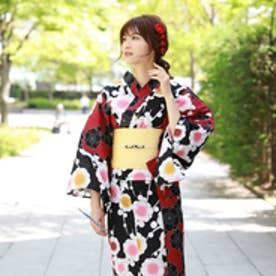 浴衣 レトロ レディース セット 染色&生地が日本製 高級変わり織り綿浴衣3点セット「黒と赤の染め分けにレトロ梅」浴衣 赤 黒 梅 (黒と赤の染め分けにレトロ梅)