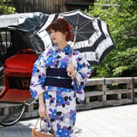 浴衣 レトロ セット レディース 高級変わり織り綿浴衣3点セット「白地に青の椿と紫の葉」 浴衣 白地 椿 青 古典柄 (白地に青の椿と紫の葉)