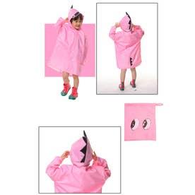 キッズレインコート 恐竜 (ピンク)