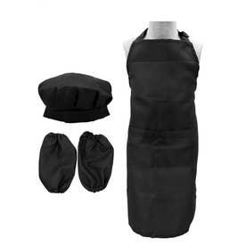 子供 エプロン&シェフ帽子&アームカバー3点セット (BLACK)
