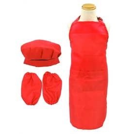 子供 エプロン&シェフ帽子&アームカバー3点セット (RED)