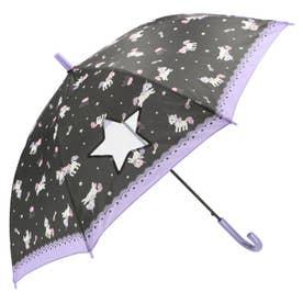 ノーブランド No Brand amusant sous la pluie 耐風 55cm ジュニア長傘 透明窓 (24790.ユニコーン_ブラック)