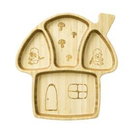 ノーブランド No Brand 木製 キッズプレートセット (きのこのおうち)