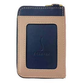 IC乗車券2枚使い分け ファスナーポケット付きパスケース (ネイビー)