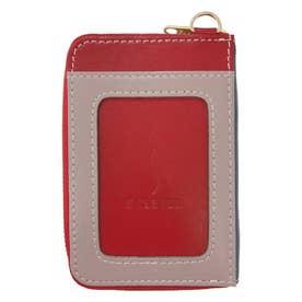 IC乗車券2枚使い分け ファスナーポケット付きパスケース (レッド)