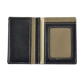 ノーブランド No Brand ICカード1枚読みケース 二つ折り (ブラックxグレー)