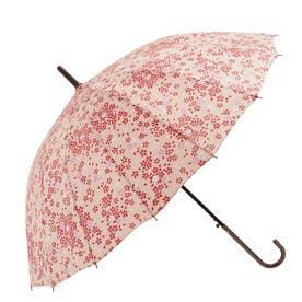 ノーブランド No Brand amusant sous la pluie 16本骨 55cm 和柄 長傘 (16120.薄紅桜PI)