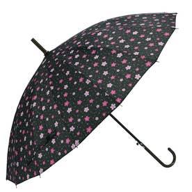 ノーブランド No Brand amusant sous la pluie 16本骨 55cm 和柄 長傘 (36070.桜BK)