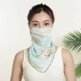 ノーブランド No Brand mask01 フェイスカバー 【返品不可商品】(水色地×白花)