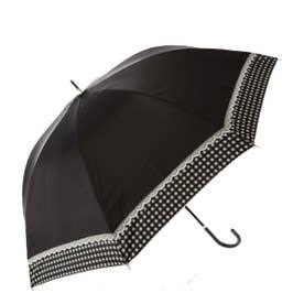 ノーブランド No Brand 晴雨兼用 シルバーコーティング 長傘 (ブラック_19100.レースギンガム)