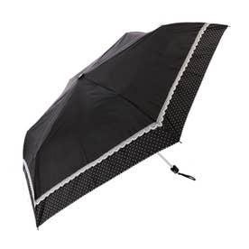 ノーブランド No Brand 晴雨兼用 シルバーコーティング 折りたたみ傘 50cm (ブラック_18070.レースドット)