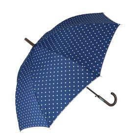 ノーブランド No Brand amusant sous la pluie 60cm 耐風長傘 10mm (17210.ポルカドット_ネイビー)