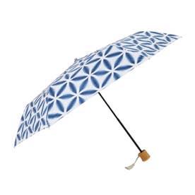 ノーブランド No Brand 河馬印本舗 晴雨兼用折りたたみ日傘 50cm (麻の葉/藍色)