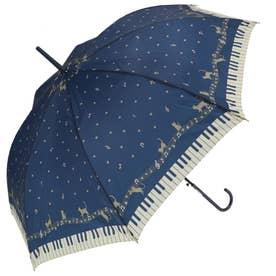 ノーブランド No Brand amusant sous la pluie 58cm グラスファイバー 長傘 (27180.メロディキャッツ_ネイビー)