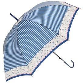 ノーブランド No Brand amusant sous la pluie 58cm グラスファイバー 長傘 (23230.ハートストライプ_ネイビー)