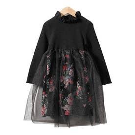 プリンセスドレス 花柄 (ブラック)