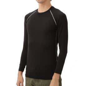 ノーブランド No Brand 冷感・消臭パワーストレッチ長袖クルーネックシャツ JW623 (BK.ブラック)